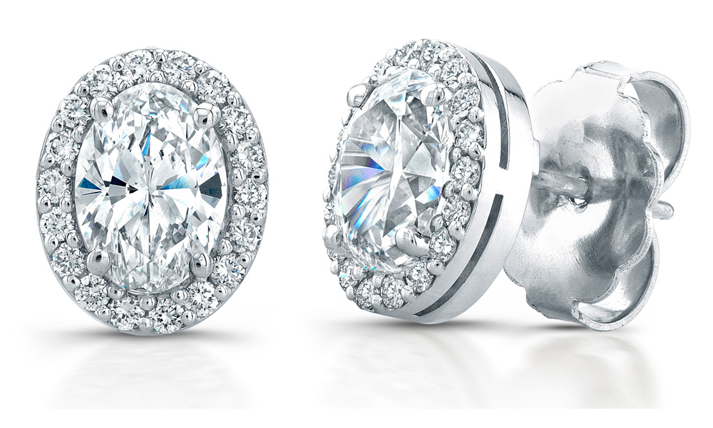 Oval Shaped Diamond Earrings 1 50 Ct